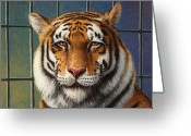 Striped Greeting Cards - Tiger in Trouble Greeting Card by James W Johnson