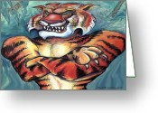 Humor Greeting Cards - Tiger Greeting Card by Kevin Middleton
