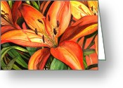 Brown Leaves Greeting Cards - Tiger Lilies Greeting Card by Elaine Hodges