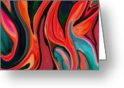 Floral Abstracts Greeting Cards - Tiger Lily Abstract Greeting Card by Linnea Tober