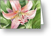 Mother Gift Painting Greeting Cards - Tiger Lily Greeting Card by Irina Sztukowski