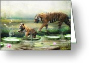 Tiger Cub Greeting Cards - Tiger Lily Greeting Card by Trudi Simmonds