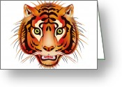 Beast Greeting Cards - Tiger Greeting Card by Michal Boubin