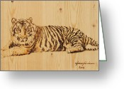 Drawing Pyrography Greeting Cards - Tiger Pyrography Greeting Card by Jeremy Cardenas