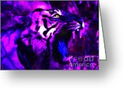 Siberian Tiger Greeting Cards - Tiger Roar Greeting Card by Wingsdomain Art and Photography