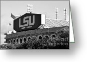 Rouge Greeting Cards - Tiger Stadium Greeting Card by Scott Pellegrin