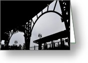 Baseball Park Greeting Cards - Tiger Stadium Silhouette Greeting Card by Michelle Calkins