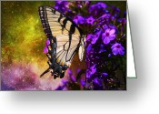 Larry Walker Greeting Cards - Tiger Swallowtail Feeding In Outer Space Greeting Card by J Larry Walker