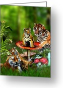 Tiger Cub Greeting Cards - Tiger Toadstools Greeting Card by Julie L Hoddinott