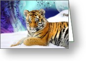Tiger Cub Greeting Cards - Tiger Treasures Greeting Card by Julie L Hoddinott