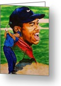 Sports Art Painting Greeting Cards - Tiger woods. Greeting Card by Darryl Matthews