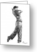 Figure Drawing Greeting Cards - Tiger Woods Full Swing Greeting Card by Murphy Elliott