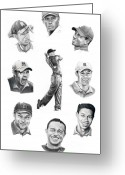 (murphy Elliott) Drawings Greeting Cards - Tiger Woods-Murphy Elliott Greeting Card by Murphy Elliott