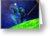 Professional Golfers Greeting Cards - Tiger Woods-Playing in the Sandbox Greeting Card by Bill Manson