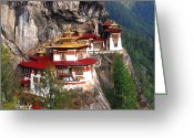 Buddha Digital Art Greeting Cards - Tigers Nest Bhutan Greeting Card by Jim Kuhlmann