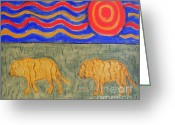 Wildlife Greeting Cards Prints Painting Greeting Cards - Tigers Greeting Card by Patrick J Murphy