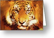 Killer Cats Greeting Cards - Tigers Stare Greeting Card by Clarence Alford