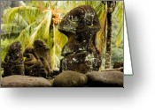 French Polynesia Greeting Cards - Tiki Carvings In Hatiheu Village, Nuku Greeting Card by Tim Laman