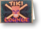 Custom Culture Greeting Cards - Tiki Lounge Greeting Card by Alan Johnson