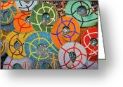 Colors Greeting Cards - Tiled Swirls Greeting Card by Adam Romanowicz