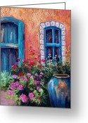 Blue Flowers Pastels Greeting Cards - Tiled Window Greeting Card by Candy Mayer
