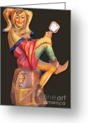 Figurine Greeting Cards - Till Eulenspiegel - The Merry Prankster Greeting Card by Christine Till