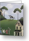 Weathervane Greeting Cards - Till The Cows Come Home Greeting Card by Catherine Holman