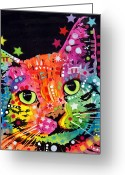 Animal Art Greeting Cards - Tilted Cat Warpaint Greeting Card by Dean Russo