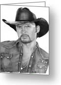 Famous People Drawings Greeting Cards - Tim McGraw Greeting Card by Murphy Elliott