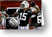 Sports Art Greeting Cards - Tim Tebow  -  NY Jets Quarterback Greeting Card by Paul Ward