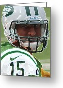 Fame Greeting Cards - Tim Tebow Art Deco - New York Jets -  Greeting Card by Lee Dos Santos