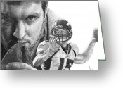Sports Art Drawings Greeting Cards - Tim Tebow Greeting Card by Bobby Shaw