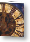 Clock Greeting Cards - Time Askew Greeting Card by Barb Pearson