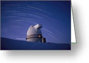 Observatories Greeting Cards - Time-exposure Of The Mauna Kea Greeting Card by Robert Madden