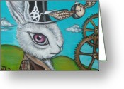 Alice In Wonderland Painting Greeting Cards - Time Flies for the White Rabbit Greeting Card by Jaz Higgins