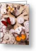 Clock Greeting Cards - Time flies Greeting Card by Garry Gay