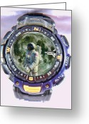 Astronaut Digital Art Greeting Cards - Time for a Space Walk Greeting Card by Alex Hardie