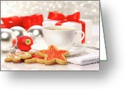 Cookie Photo Greeting Cards - Time for a tea break  Greeting Card by Sandra Cunningham