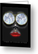 Clocks Greeting Cards - Time In Your Eyes Greeting Card by Mike McGlothlen
