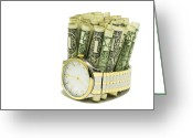 Gold Bracelet Greeting Cards - Time Is Money 2 A Greeting Card by John Brueske