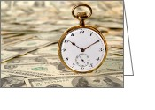 Clock Greeting Cards - Time is over Money Greeting Card by Olivier Le Queinec