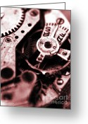 Clock Greeting Cards - Time mechanisms Greeting Card by David Cucalon
