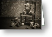 Teddy Bear Greeting Cards - Time Out - a teddy bear still life Greeting Card by Tom Mc Nemar