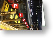 Iphonesia Greeting Cards - Time Square Pizza Greeting Card by Mickey Hatt