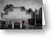 Gas Stations Greeting Cards - Time Stands Still Greeting Card by Lori Deiter
