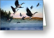 Geese Greeting Cards - Time To Go Greeting Card by Richard De Wolfe