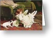 Rugs Greeting Cards - Time to Play Greeting Card by Charles Burton Barber