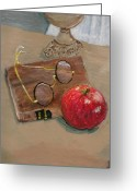 Oil Lamp Greeting Cards - Time to Read Greeting Card by Christine Lathrop