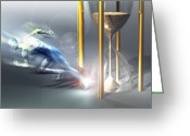 Sprinting Greeting Cards - Time Travel, Conceptual Artwork Greeting Card by Laguna Design