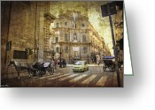 Horse And Buggy Greeting Cards - Time Traveling in Palermo - Sicily Greeting Card by Madeline Ellis